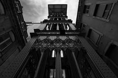 Lisbon's Santa Justa Lift (2) (lebre.jaime) Tags: portugal lisbon downtown lift santajusta architecture digital fullframe ff fx bw blackwhite noiretblanc pretobranco pb ptbw nikon d600 nikkorafs1735f28d affinity affinityphoto