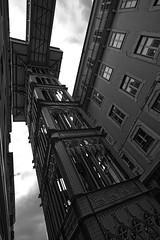 Lisbon's Santa Justa Lift (3) (lebre.jaime) Tags: portugal lisbon downtown lift santajusta architecture digital fullframe ff fx bw blackwhite noiretblanc pretobranco pb ptbw nikon d600 nikkorafs1735f28d affinity affinityphoto