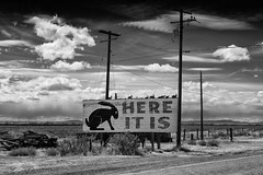 here it is / route 66. joseph city, az. 2007. (eyetwist) Tags: eyetwistkevinballuff eyetwist route66 arizona hereitis jackrabbit bw blackwhite clouds contrast desert nikon d80 nikkor 18200mmf3556gvr 18200mm highcontrast processed plugin photoshop postprocessed postprocessing nik silverefex roadsideamerica southwest usa arid lonely deserted roadtrip route 66 us66 motherroad rt66 josephcity jackrabbittradingpost trading post 2007 monochrome black white az americana landscape cloudporn americanwest wires weathered worn decay