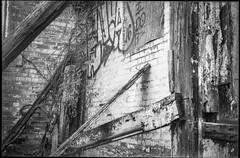 abandoned interior, architectural forms and movements, beams, brick, urban decay, River District, Asheville, NC, Minolta Freedom Dual 60, Eastman Kodak Double-X 200, HC-110 developer, 5.31.19 (steve aimone) Tags: urbandecay architecturalforms architecture interior beams brick graffiti abandoned riverdistrict asheville northcarolina minoltafreedomdual60 eastmankodakdoublex hc110developer 35mm 35mmfilm film monochrome monochromatic blackandwhite compactcamera pointandshoot