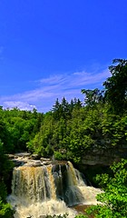 Blackwater Falls, West Virginia from a distance. (Eat With Your Eyez) Tags: blackwater falls river west virginia tucker county allegheny mountains water flow flowing nature outdoors stream blue sky clouds sunny sunshine beautiful panasonic fz1000 state park lookout