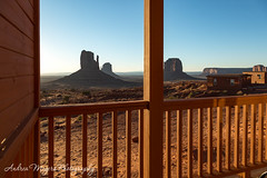 Morning view from the cabins in Monument Valley, Arizona (Andrea Meyers) Tags: 2018 organrockshale sunrise june25 mesas theviewhotel dechellysandstone sandstone navajotriballands monumentvalley cutlerformation horses arizona
