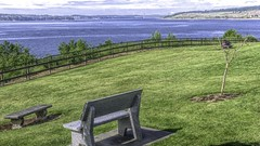 From a Distance (Mr.LeeCP) Tags: park view pugetsound water tacomanarrowsbridge bench sunny washington