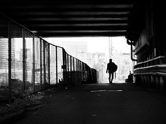 ...After a rain... (明遊快) Tags: bw monochrome street city urban cityscape fence man walk lines alley contrast fog dark japan osaka silhouette happyplanet asiafavorites