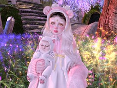 One little girl in a pale pink coat heard~ (CandyCottonDreams) Tags: sl secondlife cute kawaii forest fantasy girl baby sweet bear babydoll chuing crybunbun axix cakeinc catwa daria maitreya {s0ng}