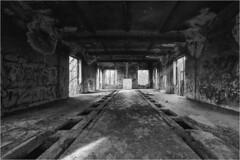About time / O czasie (Piotr Skiba) Tags: siemianowice śląskie derelict building wrecked ruin decay perspective industrial bw monochrome film ilforddelta100 eos poland pl piotrskiba anthropomorphism