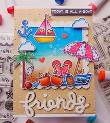 Summer beach scene with lawn fawn stamp for SSS challenge (The.craft.journal) Tags: simonsaysstamp lawn fawn simon says stamp cards greeting handmade paper craft diy cute card gift summer beach friend distress ink copic marker
