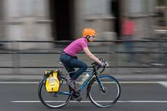 All the colours (jeremyhughes) Tags: london cyclist cycling bike bicycle rider commuter commuting street urban panning motion movement speed city colors colours colourful colorful orange pink yellow blue red nikon d700 nikkor 85mm 85mmf14d panniers