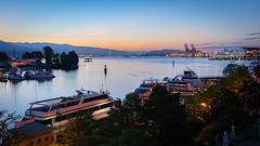 Early Morning View (Sworldguy) Tags: vancouver coalharbour sunrise early morning nauticaltwilight port marina yachts boats mountains terminal northshore landscape skyscape wideshot
