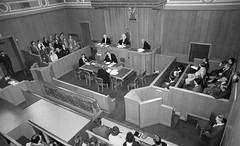Scottish Court in session (M McBey) Tags: scotland court courtroom judge sheriff legal people blackandwhite 50mmf20ailens nikkormatftn sheriffcourt dundee law lawyer