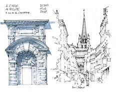 Dijon (gerard michel) Tags: france bourgogne dijon église rue portail sketch croquis