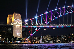 2019 Sydney: Vivid Harbour Bridge (dominotic) Tags: 2019 vividsydney sydneyharbourbridge eorabrokenspear harbourlights citysparkle sydneyharbour vividlight lightinstallations art festival lightsculpture installation lighting light lightprojection icon colour festivaloflight dark afterdark night winterfestival nightlighting nightsky movement blur sydney nsw australia
