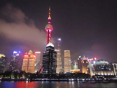 an evening in Shanghai (VERUSHKA4) Tags: canon asia china shanghai tower televisiontower travel building river evening lighting light illumination architecture vue view night may summer spring voyage riverwalk darkness dark sky ciel colour reflection wetreflection ville city cityscape outdoor chinese cloud nouage riverhuanpu skylink