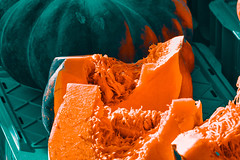 RHEYDT, GERMANY - OCTOBER 08, 2016: Sliced pumpkin with colorful orange fruit pulp invite customers for tasting on a local market (axel-d-fischer) Tags: autumn natural domestic pumpkin halloween fall organicfood garden halloweenpumpkin seasonal celebration green october pumpkinpatch localmarket traditions farmer fruitpulp harvest market outdoor orange food nutrition healthy agricultural naturalfood nutritional agriculturalproducts holiday colorful lowcarb farm freshvegetables pumpkins
