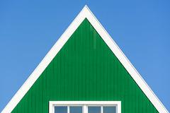 Green house with white edge (Jan van der Wolf) Tags: map186288v green groen geometric geometry geometrisch geometrie house huis zaandam edge rand white wit window raam simple simpel minimalism minimalistic minimalisme minimal architecture architectuur symmetry symmetric symmetrie triangle driehoek