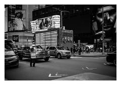 FILM - Directing traffic (fishyfish_arcade) Tags: 35mm analogphotography bw blackwhite blackandwhite canonsureshotz135 filmphotography filmisnotdead hp5 istillshootfilm monochrome newyork analogcamera compact film ilford mono streetphotography