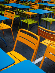Tables and Chairs (Steve Taylor (Photography)) Tags: tableandchairs blue green orange yellow metal uk gb england greatbritain unitedkingdom london pattern