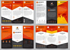 Brochure Template Set (jobairalamrik) Tags: set concept creative shape color logo geometric typography information marketing company round orange info report advertisement publication commercial grey catalog content visual vertical exhibition bend trifold place origami innovation star technology world map icon design business template layout presentation cover corporate brochure flyer promotion booklet leaflet vector illustration isolated paper