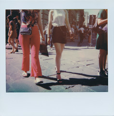 Girls walk the street (ale2000) Tags: polaroid analog analogue instant instantphotography spectra polaroidoriginals frame streetphotography red rosso legs gambe girls ragazze firenze florence