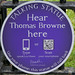 Hear Thomas Browne here [plaque]