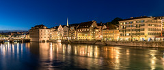 Blue Hour Over Zurich (drasphotography) Tags: zürich zurich schweiz swiss travel travelphotography reisefotografie drasphotography reflection reflektion europe limmat fluss river blue hour blaue stunde city cityscape urban romantic