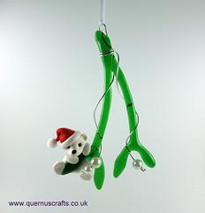 Little Santa Polar Bear on Glass Mistletoe (Quernus Crafts) Tags: polymerclay quernuscrafts cute christmas mistletoe glassmistletoe phoenixglass santahat polarbear