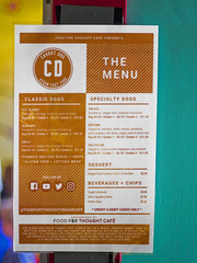 Carrot Dog Vegan Fast Food menu (cizauskas) Tags: vegan food menu restaurant eav eastatlanta georgia hotdog canon canonfd legacylens manualfocus fotodiox