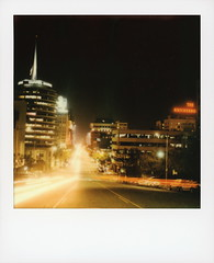 Vine Street Nights (tobysx70) Tags: polaroid originals color sx70 instant film sx70sonar sonar vine street nights hollywood los angeles la california ca cityscape neon sign night nocturnal traffic lighttrails city lights hill capitol records building knickerbocker vanishing point motion blur toby hancock photography