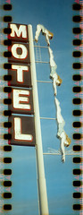 The line up (No Stone Unturned Photography) Tags: kodak folding expired polaroid high definition 400 agfa 35mm film sprocket holes jiffy camera art deco 1933 six16 616 panoramic motel hotel sign mesa main street