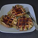 Banana Oatmeal Waffles With Lingonberry Jam & Maple Syrup