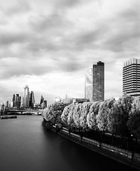 the still and the moving (Andrew.King) Tags: london waterloo bridge southbank skyline city skyscrapers skyscapers landscape cityscape trees wind movement still blackandwhite black white monochrome contrast highlights shadows water thames portrait composition nikon d7100 long exposure cokin ndgrad nd graduated filters national theatre