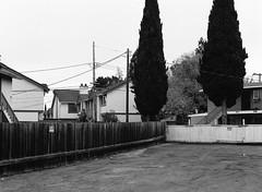 San Jose, California (bior) Tags: pentax645nii 6x45cm pentax645 ilfordfilm hp5plus hp5 ilfordhp5plus 75mm sanjose california fence suburbs residential apartment driveway concrete