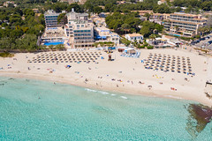 Aerial view of Son Moll beach in Cala Ratjada, Mallorca