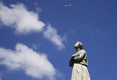 La femme et l'avion.... (OGNB) Tags: canon6dmarkii plane sky ciel statue woman femme