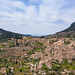 Aerial view of the small village of  Valldemossa in Mallorca, Spain