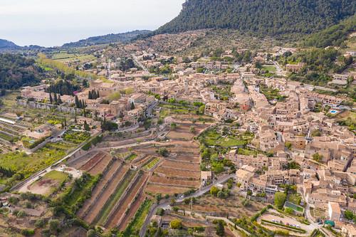 Luftbild von Valldemossa auf der Balearischen Insel Mallorca, Spanien