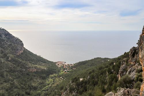Aerial view of Port de Valldemossa in Mallorca, Spain