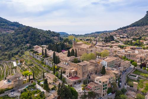 Aerial View to Iglesia de la Cartuja in Valldemossa, Mallorca, Spain