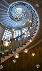 Up the wooden hill (Harleycy3) Tags: spiralstaircase hanginglights wooden lights architecturallyartistic