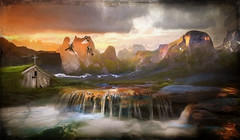 Waters From The Mountains (jarr1520) Tags: landscape sky clouds morning sunsrise sun dawn mountains composite textured house cross birds waterfall water rocks