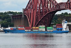 Fenja (Gerry Hill) Tags: forth road bridge south queensferry harbour river water firth replacement crossing scotland north fenja imo 9287716 container ship passing under boat