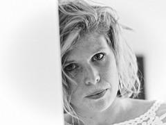 into her eyes (frax[be]) Tags: portrait woman rokkor 58mm fuji noiretblanc monochrome fineart moody blackandwhite bnw bw freckles