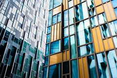 Architectural Contrast (Sean Batten) Tags: london england unitedkingdom eastlondon docklands northgreenwich color colors building lines windows architecture fuji x100f fujifilm apartments housing europe city urban