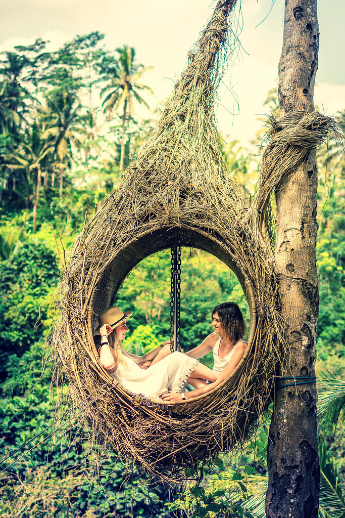 Honeymoon couple in the jungle of Bali island