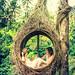 Honeymoon couple in the jungle of Bali island