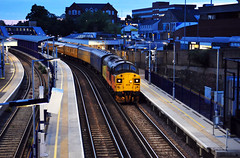 37099 runs through Gravesend Station working a 3Q77 Hither Green PAD to Hither Green PAD UTU2 train via Kent on 4-6-19. Copyright Ian Cuthbertson (I C railway photo's) Tags: class37 colas 37099 gravesend testtrain