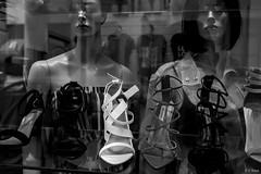 Shoes & Mannequins ©2019 Karp (kartofish) Tags: monochrome window shoes mannequins reflection fuji fujifilm street philadelphia pennsylvania usa glass