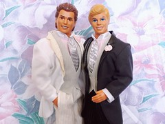 Wedding Day Alan #9607 & Ken #9609 from 1990 (VintageZealot) Tags: barbie ken mattel wedding day 9609 9852 1990 1990s 90s malaysia caucasian vintage retro fashion doll clothing clothes outfit model modelling blonde white plastic snaps velcro loafers marriage best man grey silver pink black leather faux pleather pinstripe pants tie vest dress shirt pockets jacket tuxedo suit flower socks lapels tan tanned notch shoes alan allan brunet 9607 superstar super star tails groom ivory cream vinyl