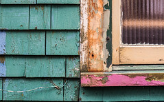Peeling Back the Layers II ... (vanessa violet) Tags: green peelingbackthelayers layers paint colour house home window hww wednesday weathered worn mystery peelingpaint