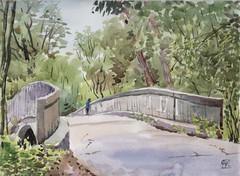 E.T. Seton Park, Plein Air, 2019-06-04 (light and shadow by pen) Tags: watercolor landscape bridge art etsetonpark